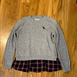 Girls Abercrombie sweater with flannel trim